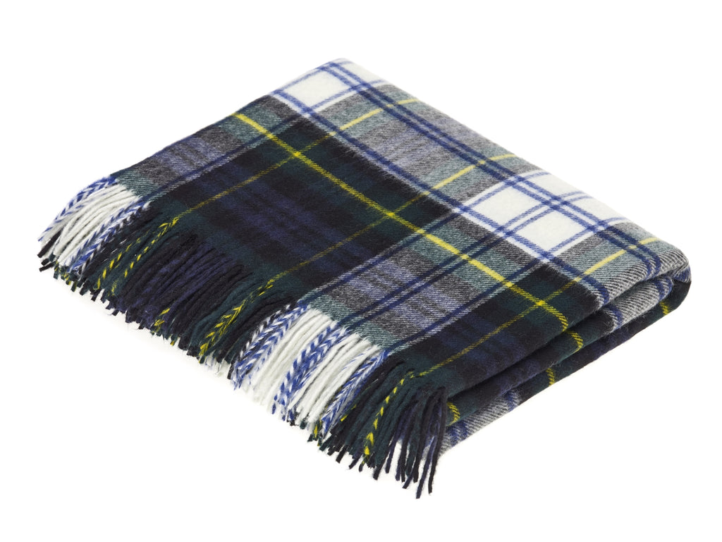 Tartan Plaid- Merino Lambswool Throw Blanket-  Dress Gordon Tartan - Made in England