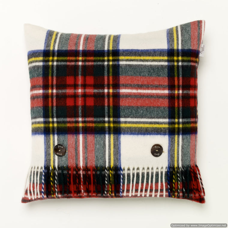 Merino Lambswool - Dress Stewart Tartan - Plaid Pillow - Made in England