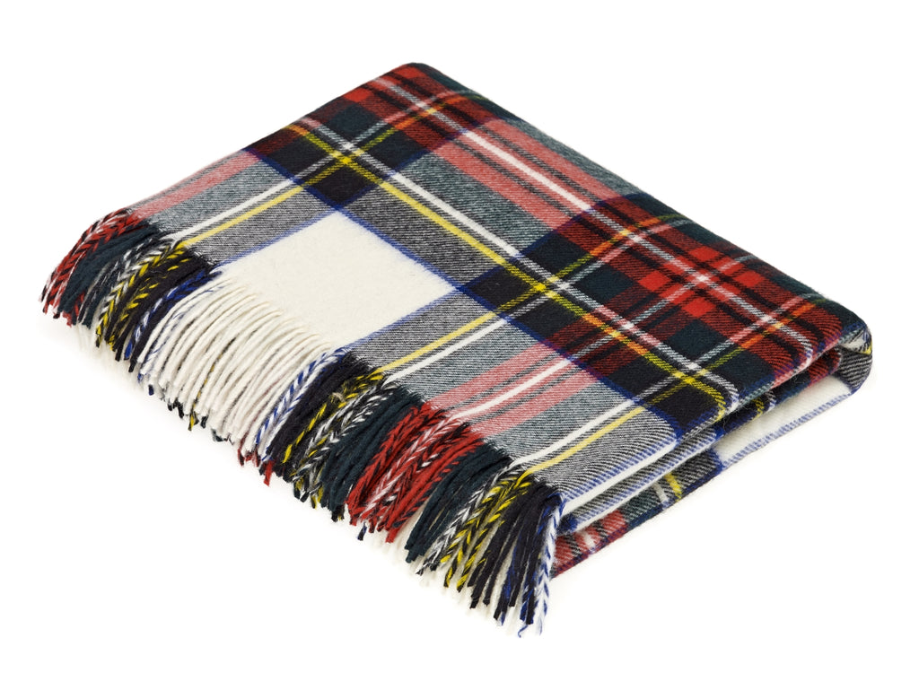 Tartan Plaid- Merino Lambswool Throw Blanket-Dress Stewart Tartan- Made in England