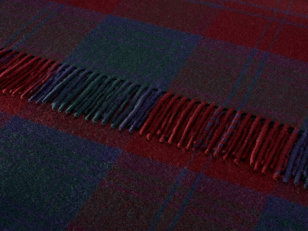 Tartan Plaid- Merino Lambswool Throw Blanket- Clan Lindsay Tartan- Made in England