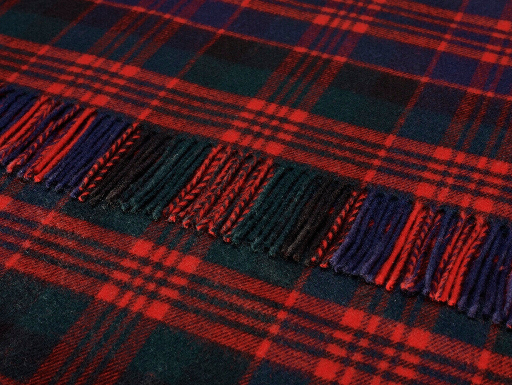 Tartan Plaid- Merino Lambswool Throw Blanket- Clan MacDonald Tartan-Made in England