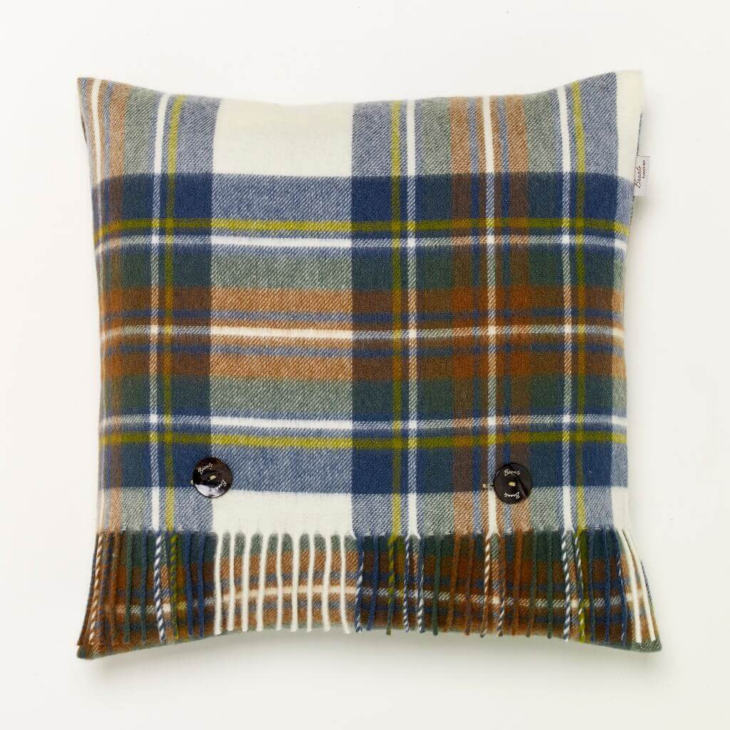 Merino Lambswool Muted Blue Stewart Tartan Plaid Pillow - Made in England