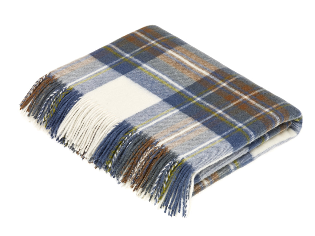 Tartan Plaid-Merino Lambswool Throw Blanket-Muted Blue Stewart Tartan-Made in England