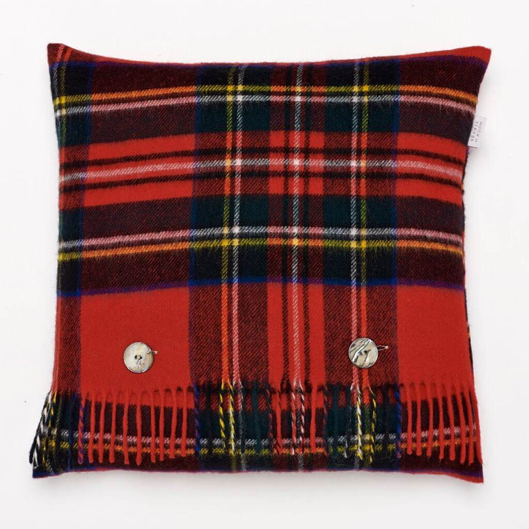 Merino Lambswool - Royal Stewart Tartan Plaid Pillow - Made in England