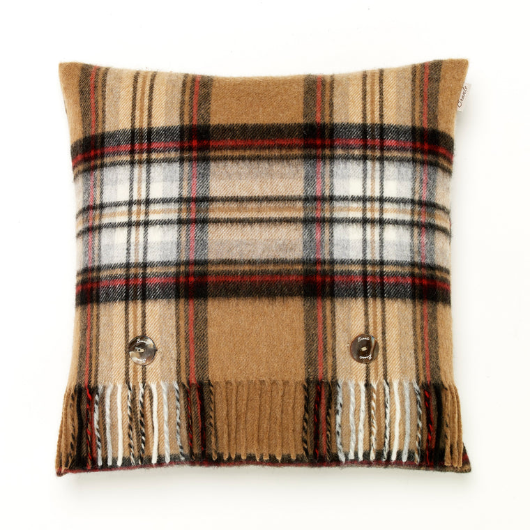 Merino Lambswool - Camel Stewart Tartan - Plaid Pillow