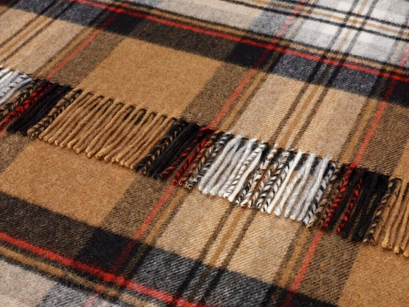 Tartan - Merino Lambswool -  Camel Stewart - Throw Blanket