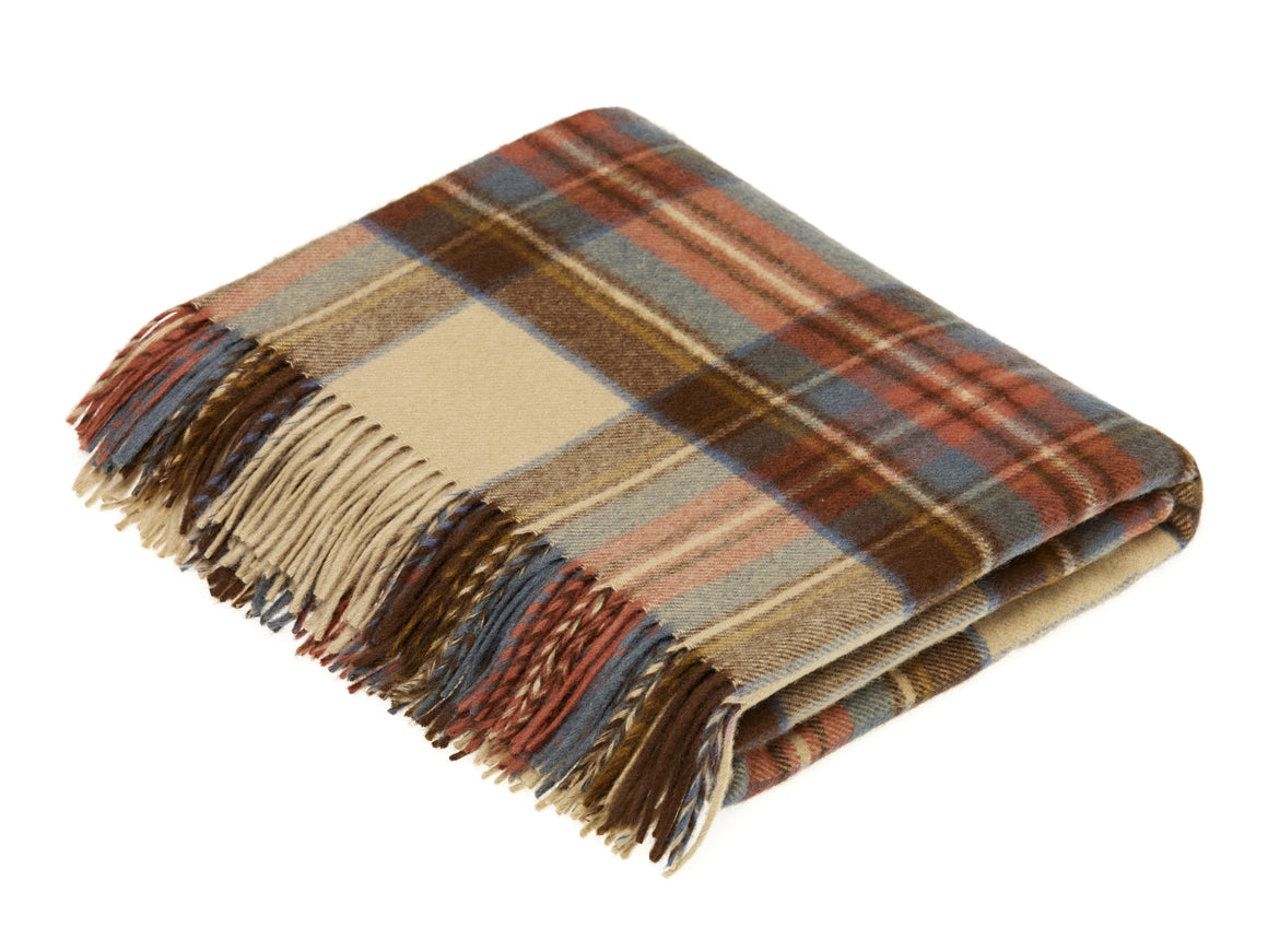 Tartan - Merino Lambswool -  Antique Dress Stewart - Throw Blanket