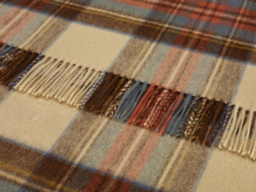 Tartan Plaid -Merino Lambswool Throw Blanket in Antique Dress Stewart -Made in England