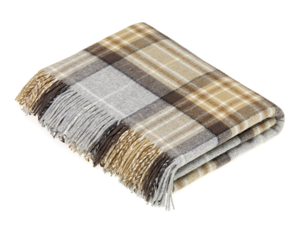 Tartan Plaid- Merino Lambswool Throw Blanket- Clan McKellar Tartan - Made in England