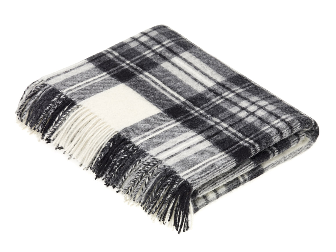 Tartan - Merino Lambswool -  Dress Gray Stewart - Throw Blanket