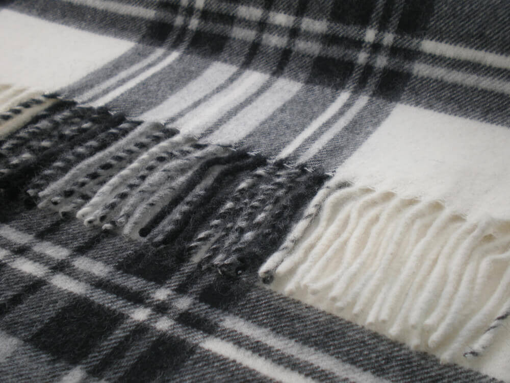 Tartan Plaid-Merino Lambswool Throw Blanket-Dress Gray Stewart Tartan. Made in England