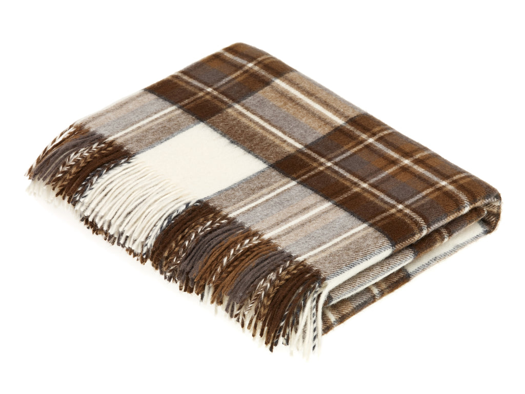 Tartan Plaid Merino Lambswool Throw Blanket-Natural Dress Stewart Clan-Made in England