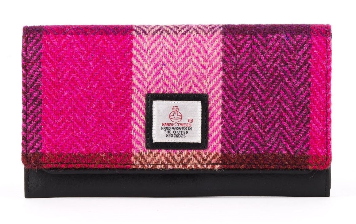 Harris Tweed - Ladies Envelope Purse - Pink Squares