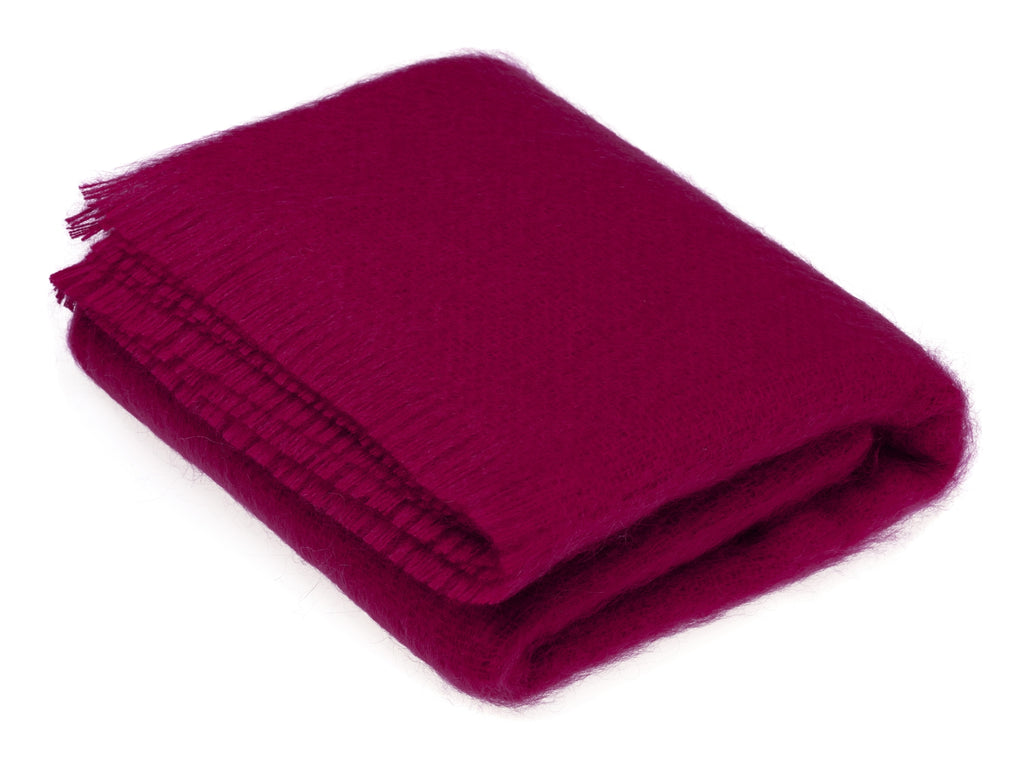 Luxury Mohair Fuschia Throw Blanket
