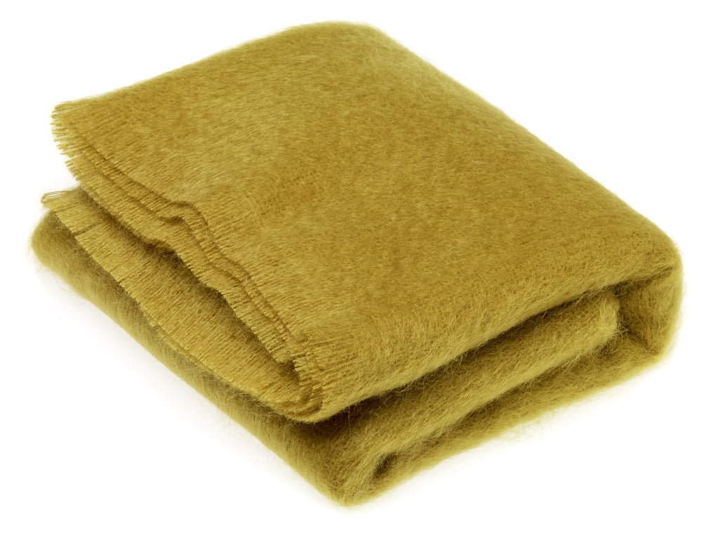 Luxury Mohair Burnt Gold Throw Blanket