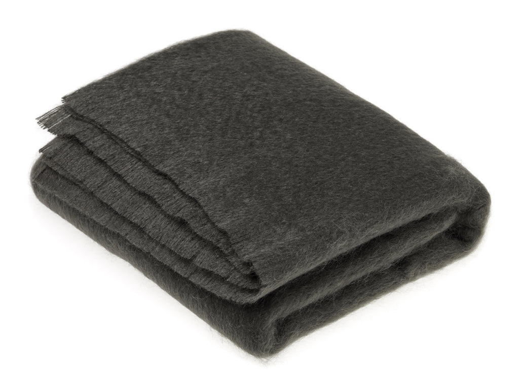 Luxury Mohair Gun Metal Throw Blanket