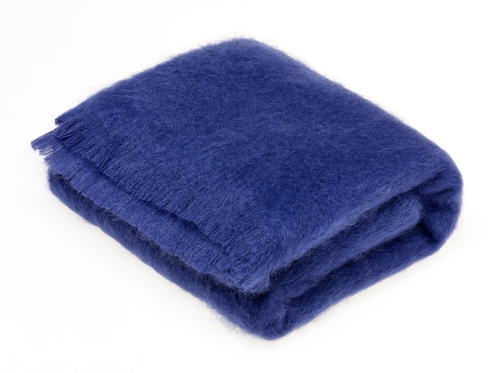 Luxury Mohair Throw Blanket Indigo