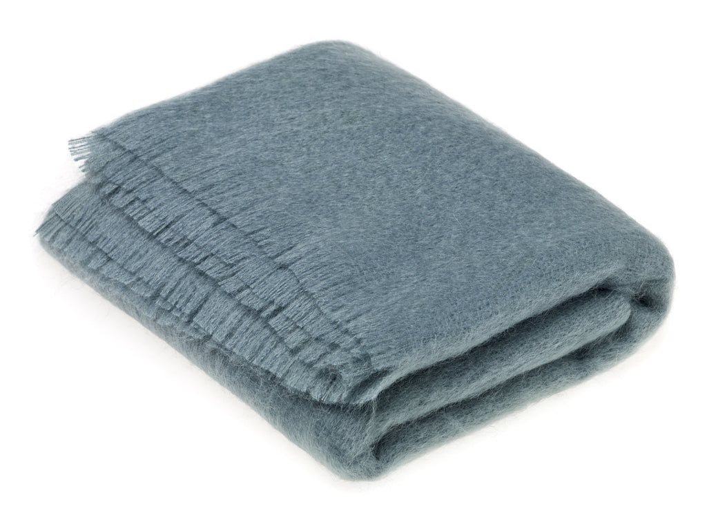 Ethan and Allen Mohair Throw Blanket in Juniper