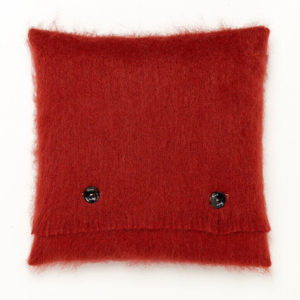 Luxury Mohair Lacquer Red Pillow