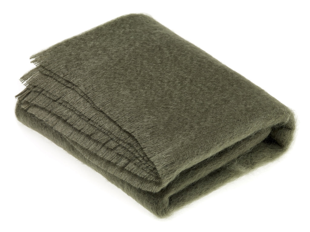 Luxury Mohair  Moss Green Throw