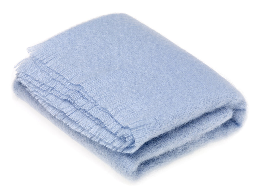 Luxury Mohair  Paradise Blue Throw