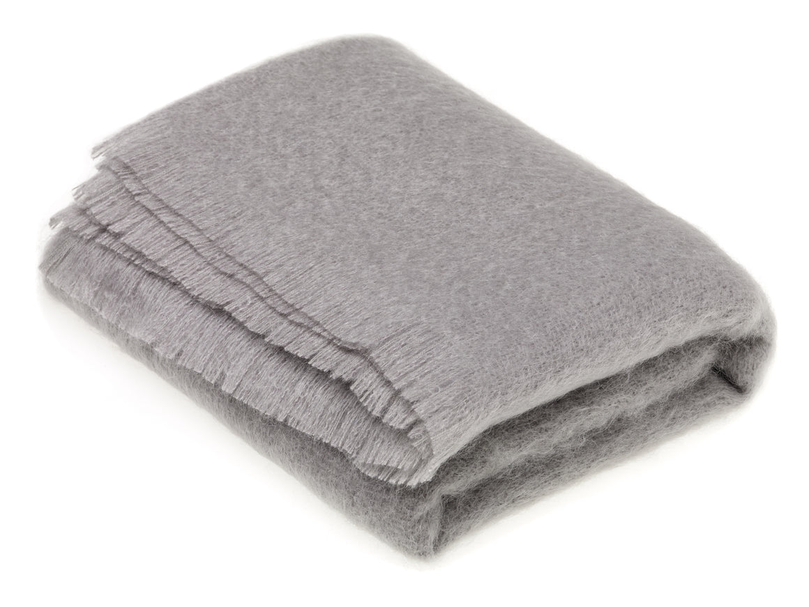 Luxury Mohair Slate Gray Throw Blanket