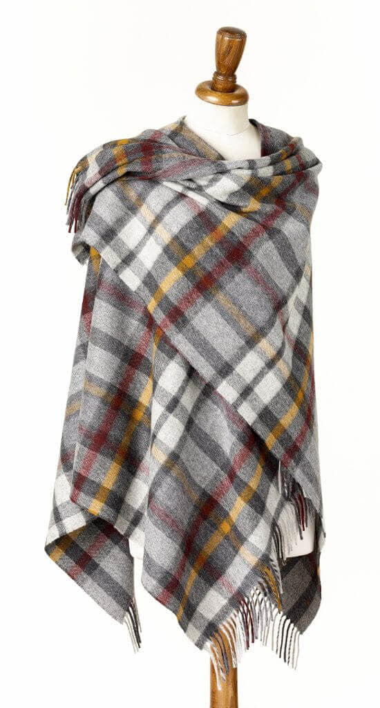 Bronte by Moon Plaid Ruana Wrap - Merino Lambswool - Buttertubs - Gray