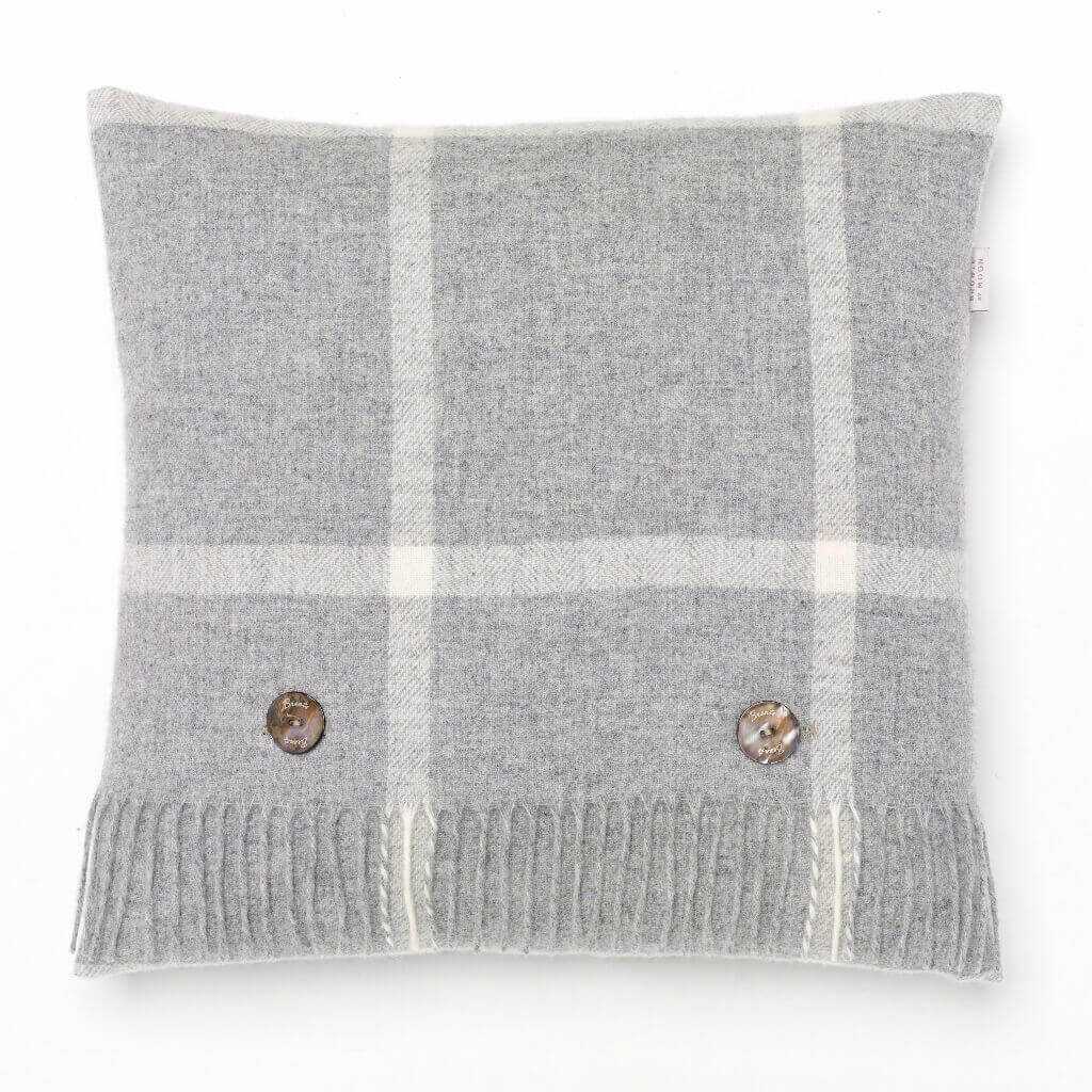 Merino Lambswool - Windowpane - Gray - Pillow