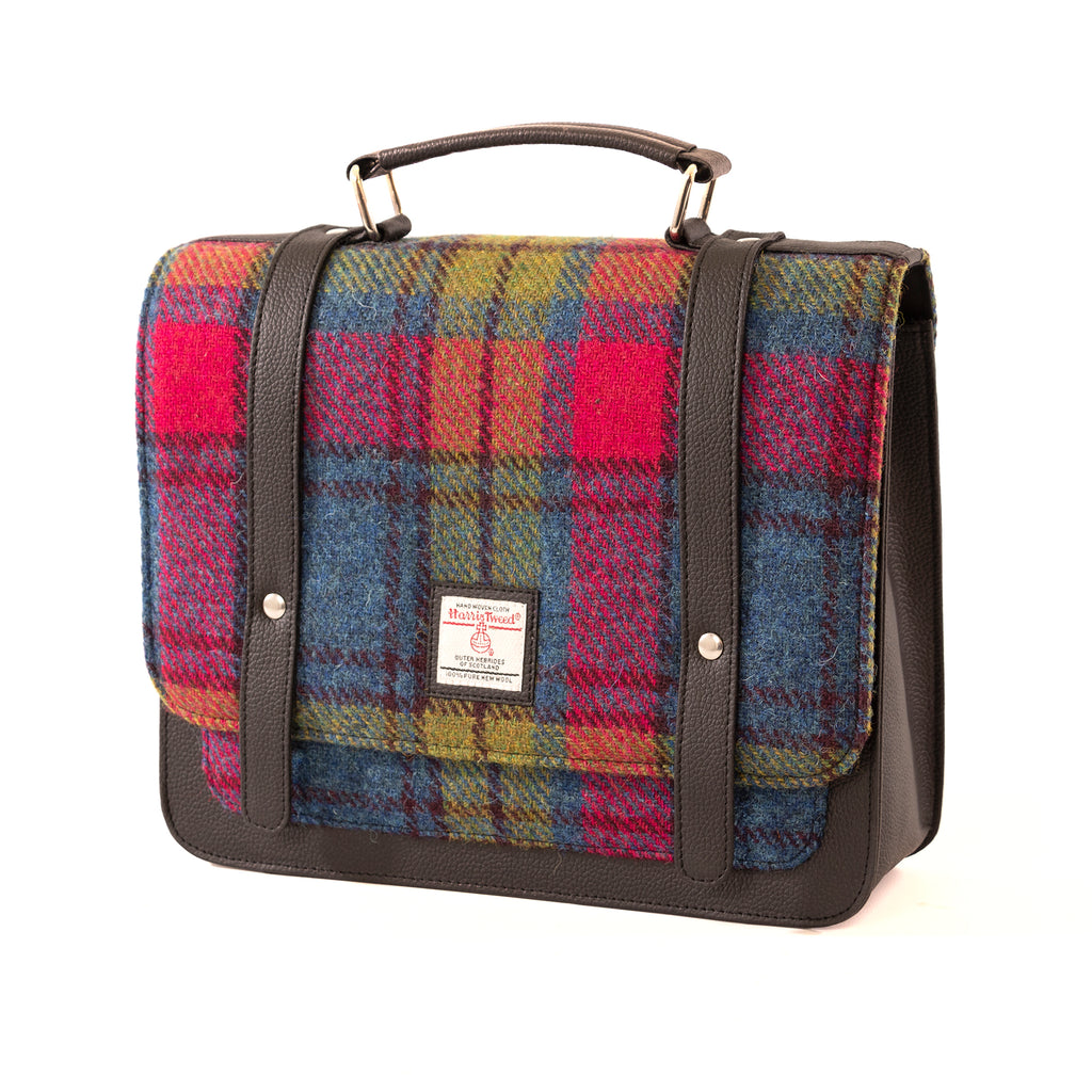 Harris Tweed - Mini Messenger Bag - Blue / Pink Check