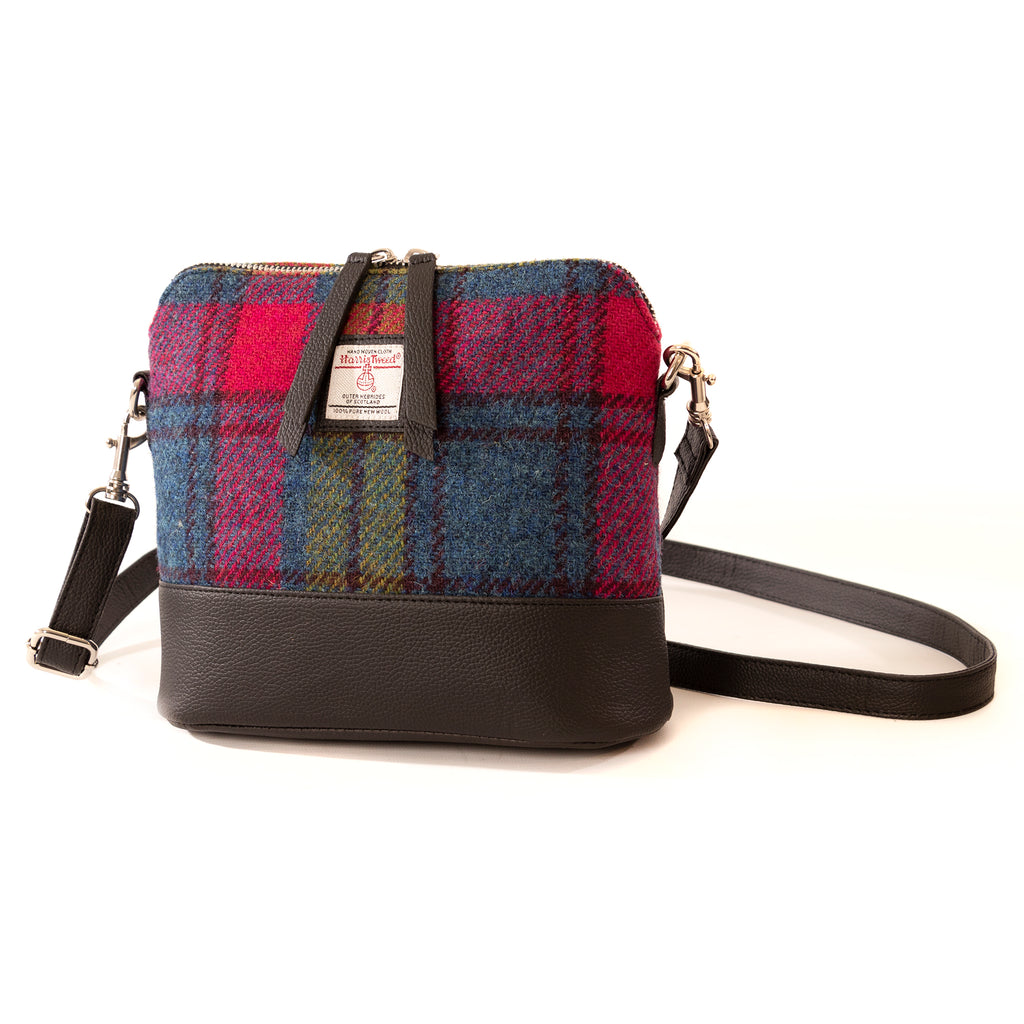 Harris Tweed - Square Shoulder Bag - Blue / Pink Check