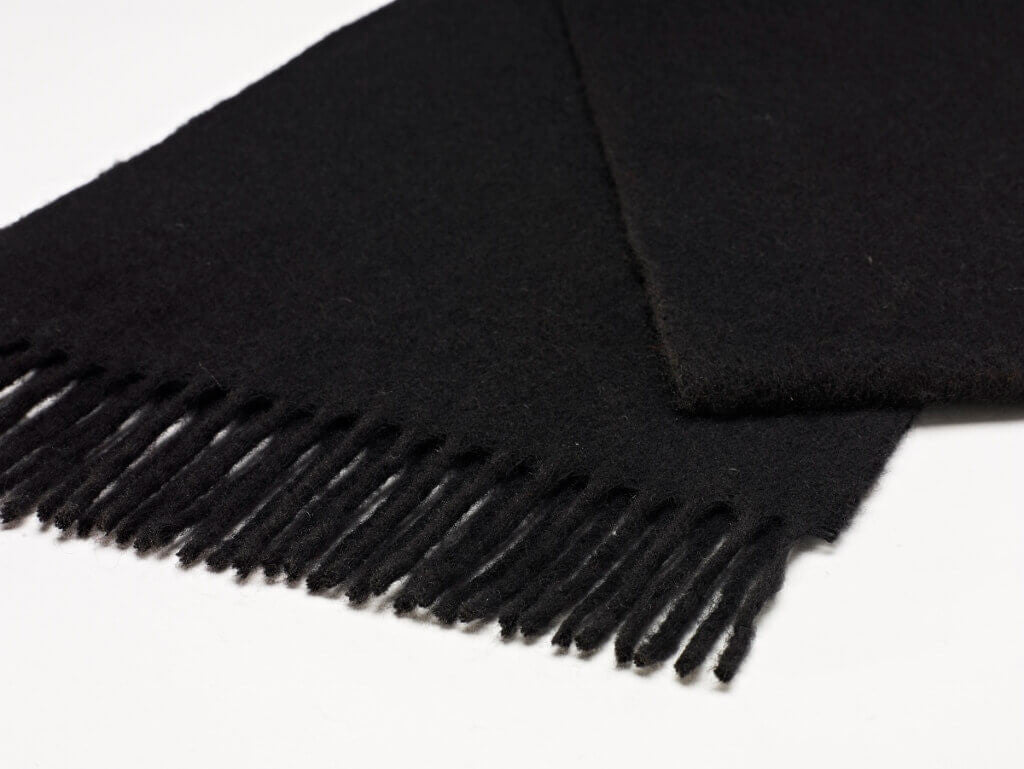 Luxury Black Merino Lambswool Scarf