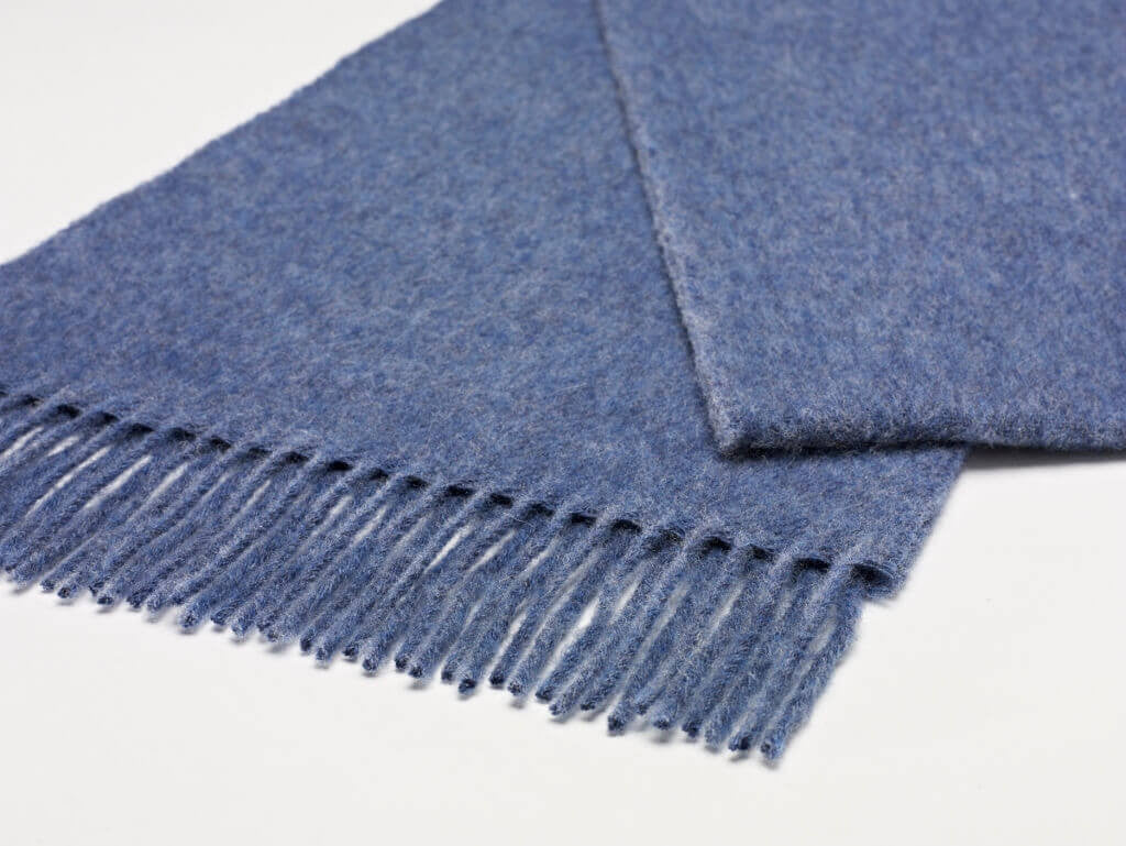 Luxury Airforce Blue Merino Lambswool Scarf