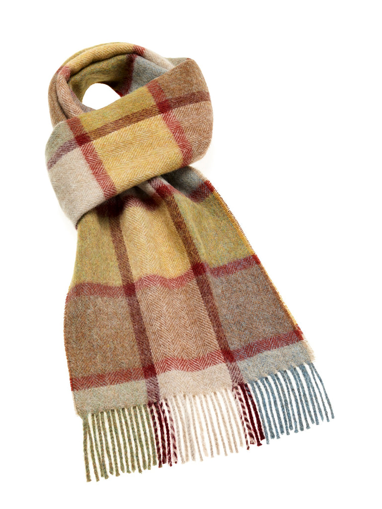 Pateley Ochre Check Scarf, Merino Lambswool, Made in England