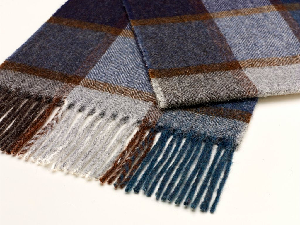 Pateley Blue Check Scarf, Merino Lambswool, Made in England