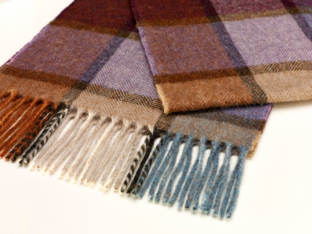 Pateley Damson Check Scarf, Merino Lambswool, Made in England