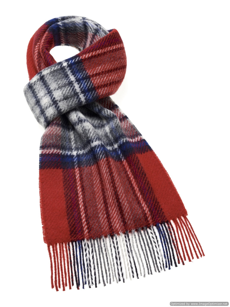 Lowerfell Red/Gray Scarf, Merino Lambswool, Made in England