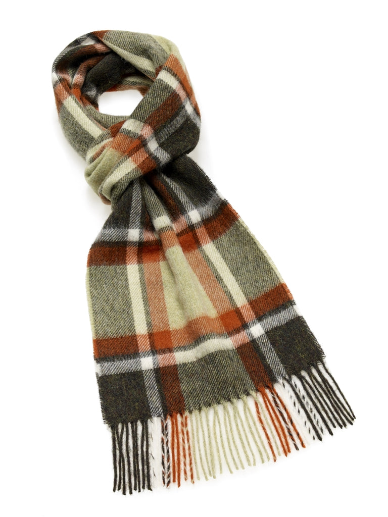 Bracken Check Green/Rust Scarf
