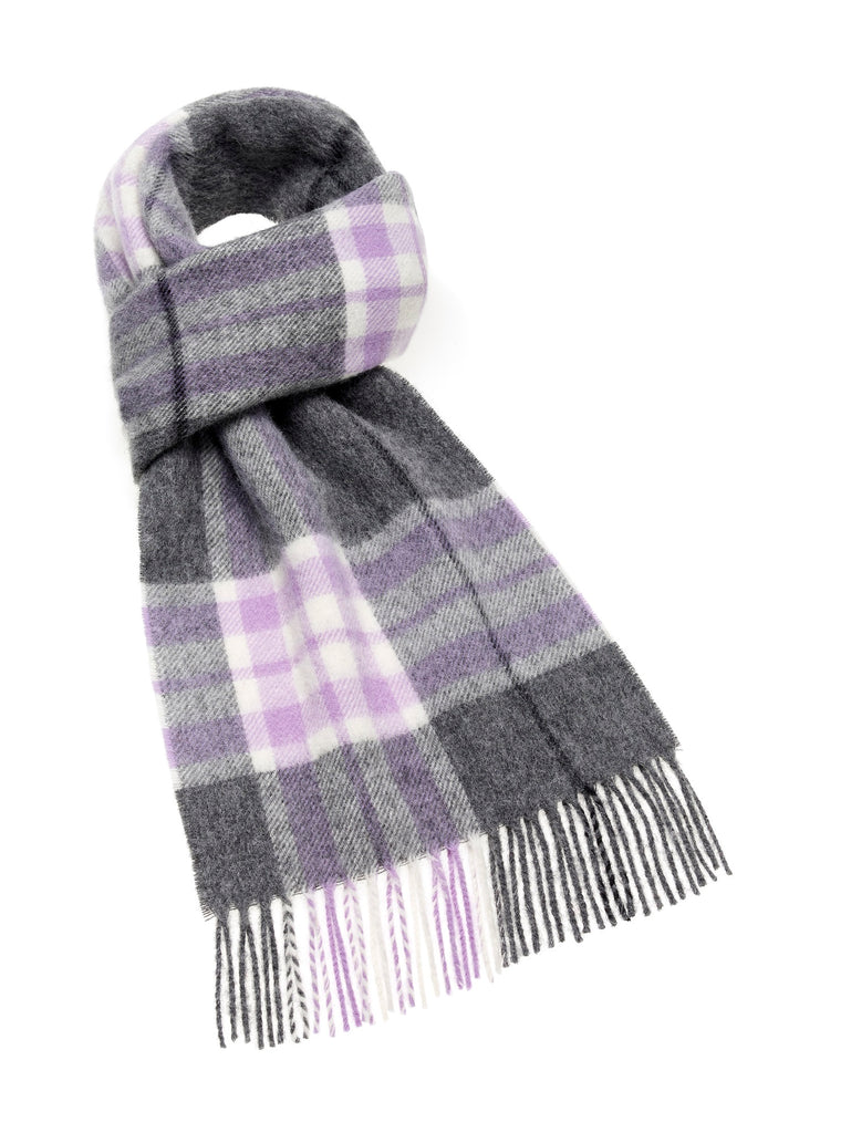 Westminster Lilac/Gray Scarf, Merino Lambswool, Made in England, Bronte Moon