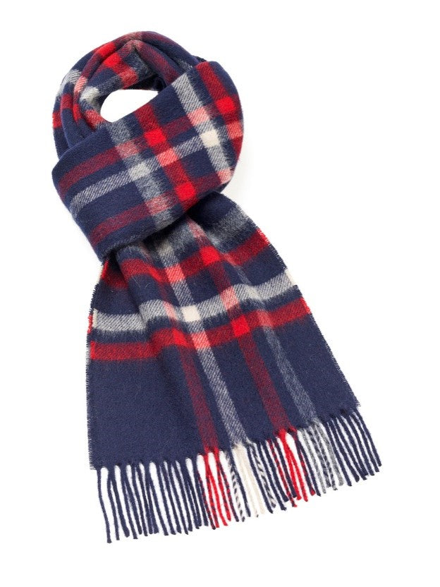 Moorland Check Navy Scarf - Merino Lambswool - Made in England