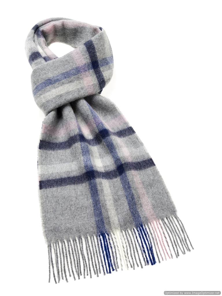 Moorland Check Gray Scarf - Merino Lambswool - Made in England