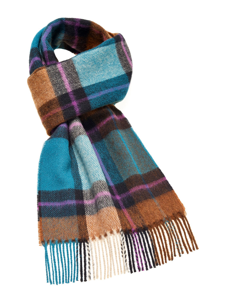 Madison Teal Scarf, Merino Lambswool, Made in England