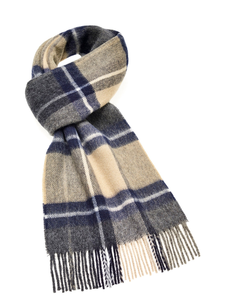 Madison Navy/Camel Scarf, Merino Lambswool, Made in England