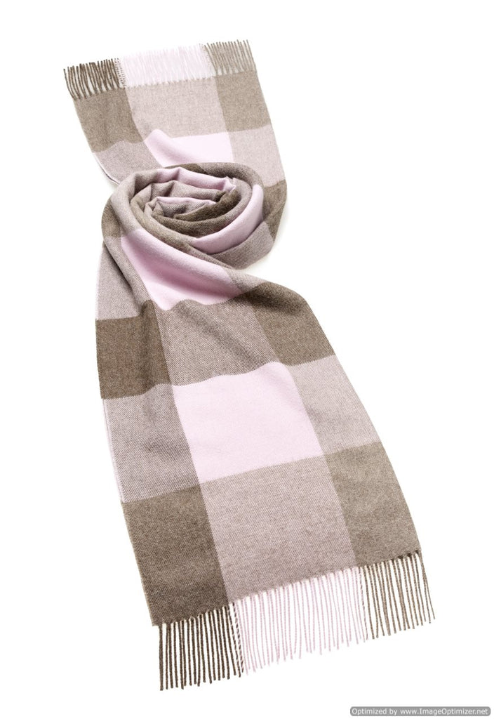 alpaca brown and pink check blanket scarf shawl by bronte moon