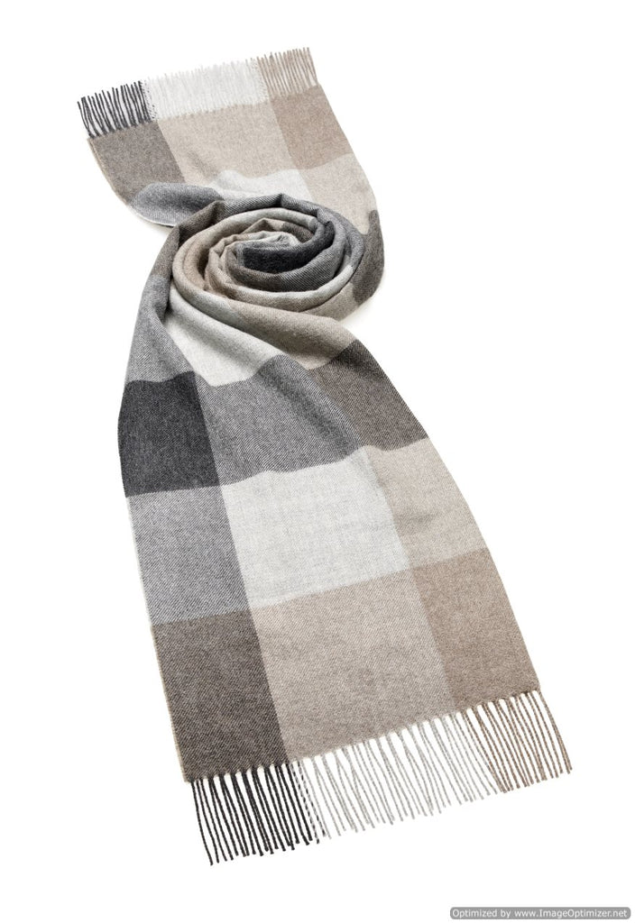 gray and beige check blanket scarf shawl in alpaca, bronte moon