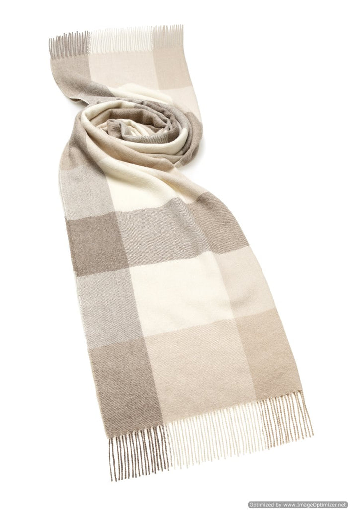 camel and off white check wrap or shawl made from alpaca
