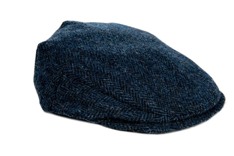 Harris Tweed Herringbone Flat Cap Hat - Navy Blue - Unisex - Bronte Moon