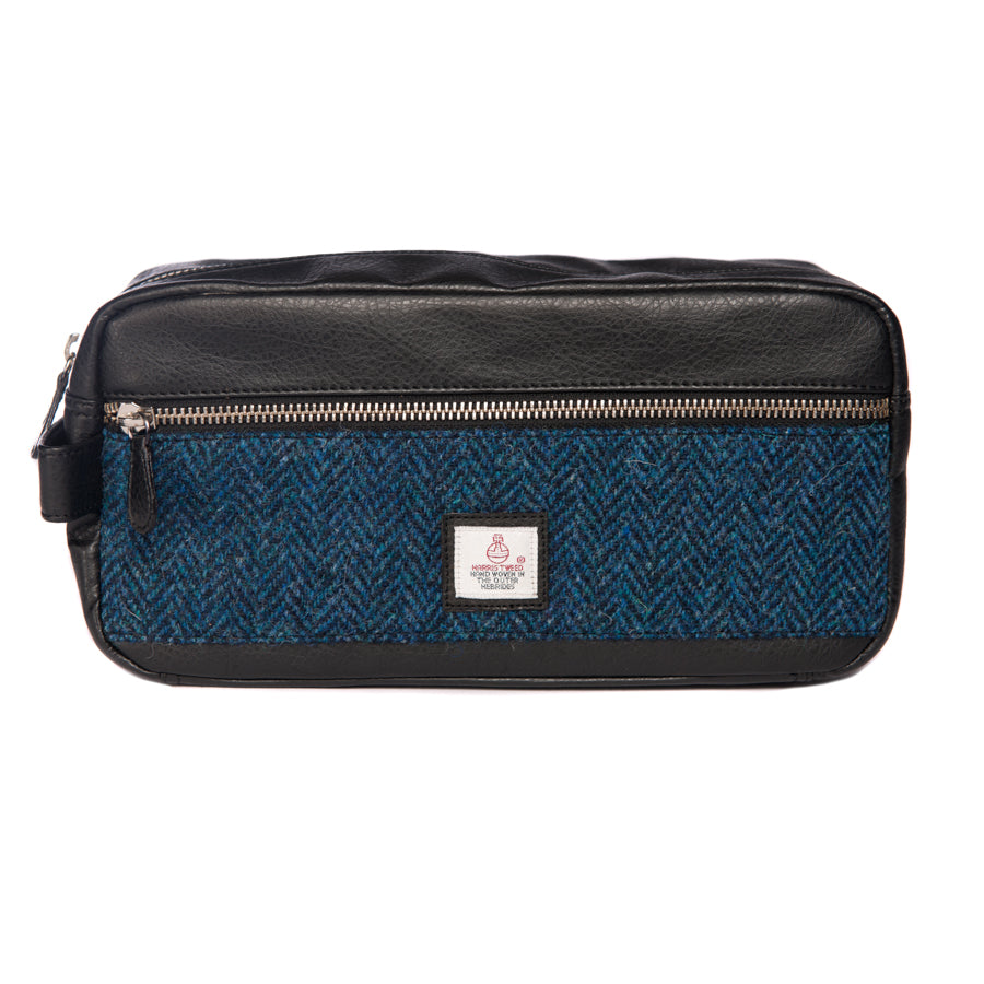 Harris Tweed - Dopp Kit - Toiletry Bag - Wash Bag - Herringbone Blue