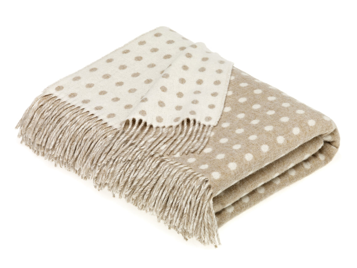 Merino Lambswool Spot Beige Throw Blanket