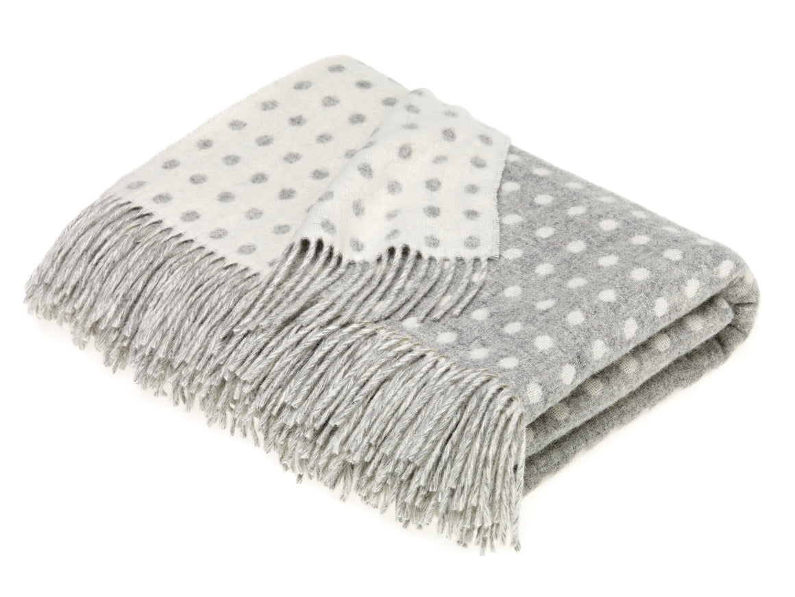 Merino Lambswool Spot Gray Throw Blanket