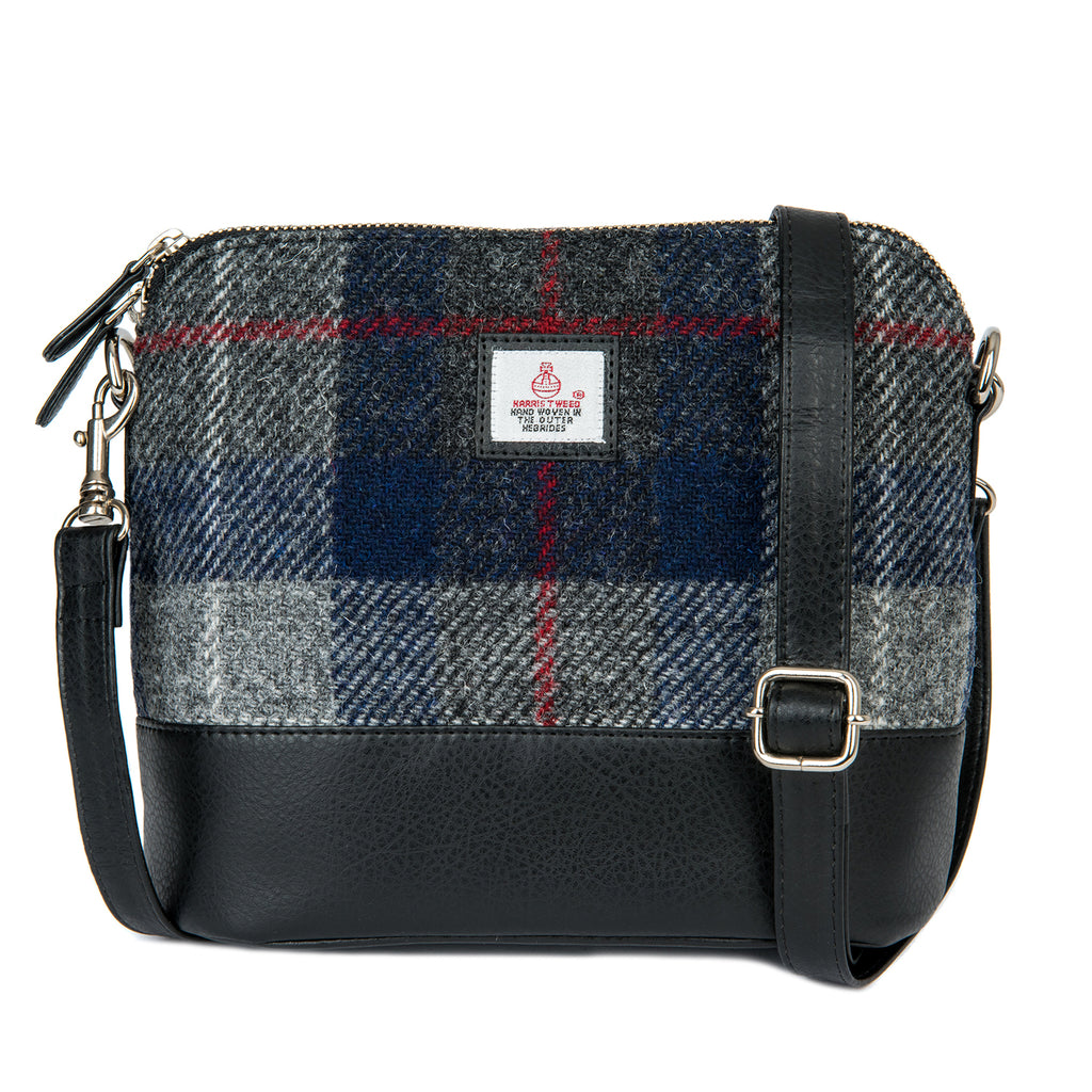 Harris Tweed - Square Shoulder Bag - Plaid Navy & Gray